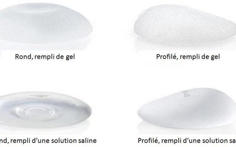 implants mammaires au serum salé et au gel de silicone